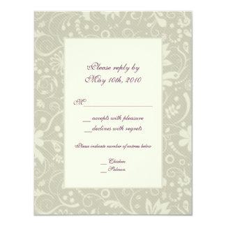Cream Paisley Wedding RSVP Note Card