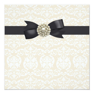 Cream Pearl Bow Black Tie Party Event Template