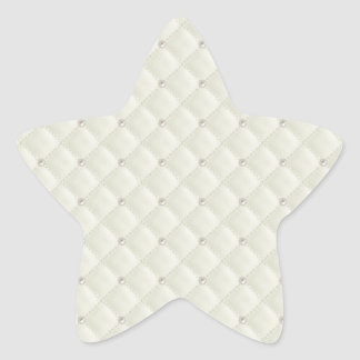 Cream Pearl Stud Quilted Star Sticker