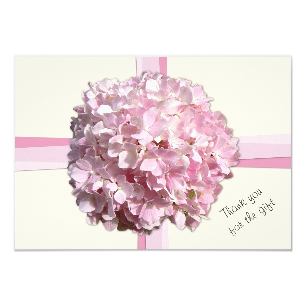 Cream Pink Hydrangea Flat Thank You Notes Card