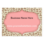 Cream Pink Leopard Print Business Cards