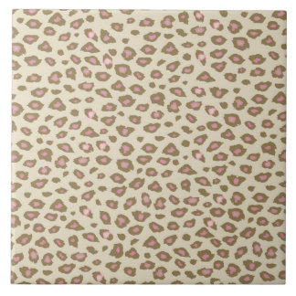Cream Pink Leopard Print Tile