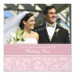 "Cream Pink Photo Wedding Vow Renewal Invitations 5.25"" Square Invitation Card"
