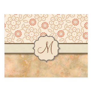 Cream Pink Retro Polkadot Flowers with Monogram Postcard