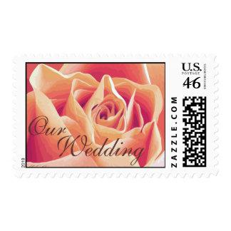 Cream Pink Rose Wedding Postage