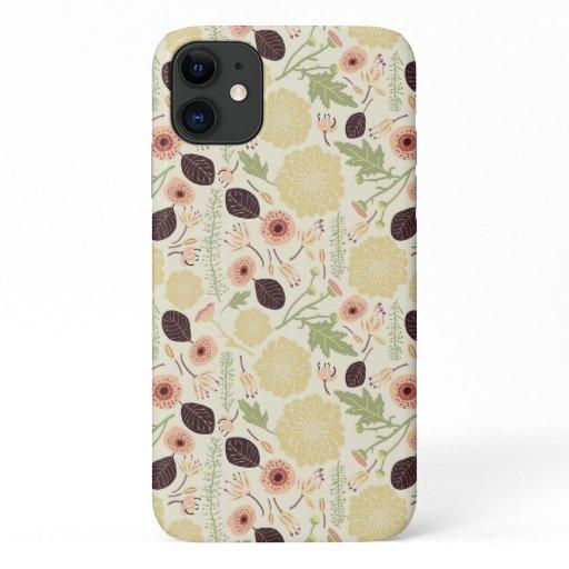 Cream Playful Floral Mix Flower Pattern iPhone 11 Case