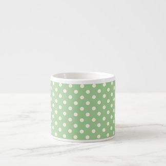Cream Polka Dots on Green Espresso Cup