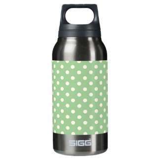 Cream Polka Dots on Green Insulated Water Bottle