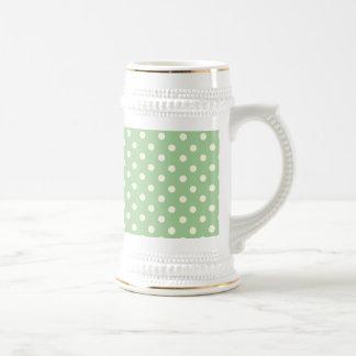 Cream Polka Dots on Green Coffee Mugs