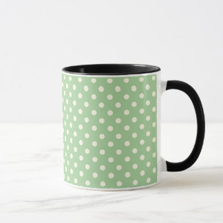 Cream Polka Dots on Green Mug