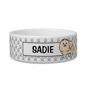 Cream Pomeranian And Customizable Dog's Name Bowl