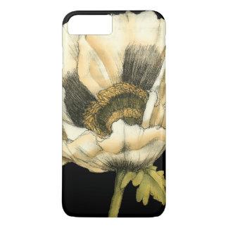 Cream Poppy Flower on Black Background iPhone 7 Plus Case