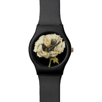 Cream Poppy Flower on Black Background Watch