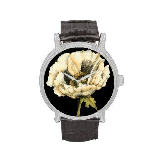 Cream Poppy Flower on Black Background Wristwatches