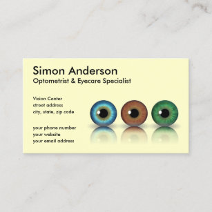 Optometry Business Cards Zazzle