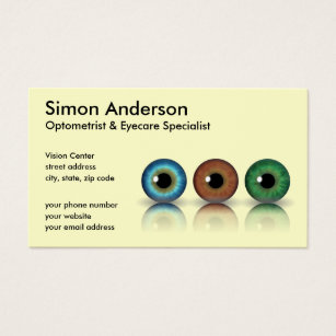 Optometry business cards templates zazzle cream professional eyeballs optometry business card colourmoves