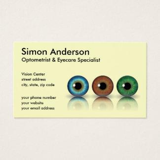 Cream Professional Eyeballs Optometry Business Card