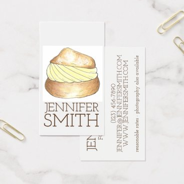 Professional Business Cream Puff Pastry Dessert Chef Bakery Food Blogger Business Card
