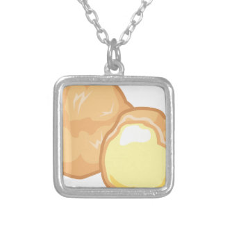Cream Puff Silver Plated Necklace