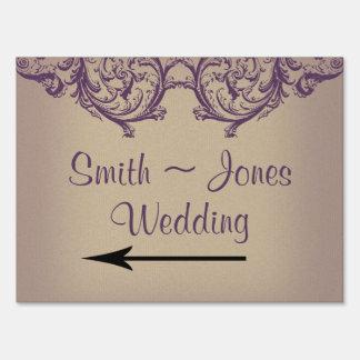 Cream Purple Vintage Posh Wedding Direction Sign