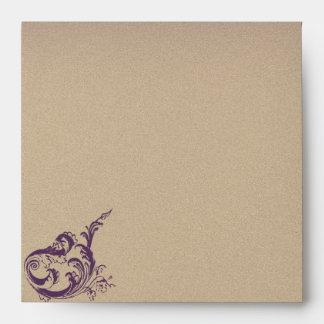Cream Purple Vintage Scroll Posh Wedding Envelope