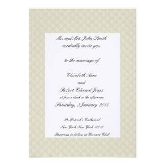 Cream Quilted Leather Bordered Wedding Invitations