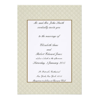 Cream Quilted Leather Gold Border Wedding Invites