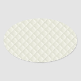 Cream Quilted Leather Oval Sticker