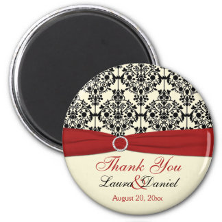 Cream, Red, and Black Damask Thank You Magnet