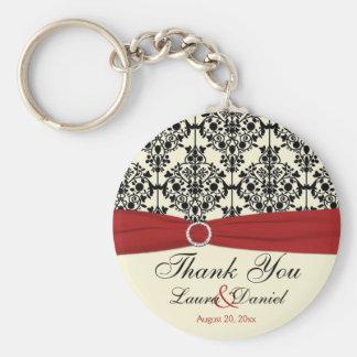 Cream, Red, and Black Damask Wedding Favor Basic Round Button Keychain