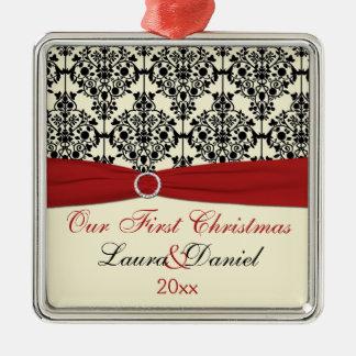 Cream, Red, and Black Damask Wedding Keepsake Metal Ornament