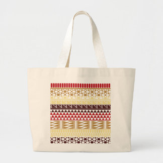 Cream Red Geo Abstract Aztec Tribal Print Pattern Canvas Bags