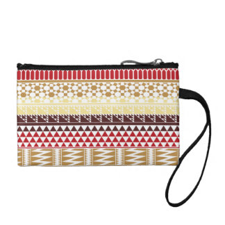 Cream Red Geo Abstract Aztec Tribal Print Pattern Coin Wallet