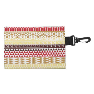 Cream Red Geo Abstract Aztec Tribal Print Pattern Accessories Bags