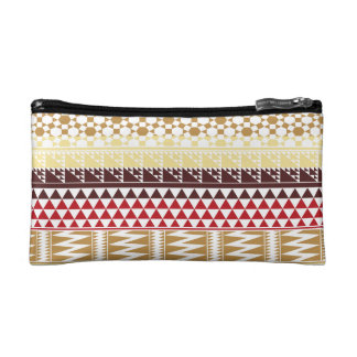 Cream Red Geo Abstract Aztec Tribal Print Pattern Makeup Bag