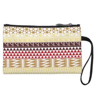 Cream Red Geo Abstract Aztec Tribal Print Pattern Wristlet Purse