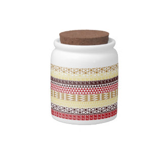 Cream Red Geo Abstract Aztec Tribal Print Pattern Candy Jars