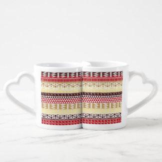 Cream Red Geo Abstract Aztec Tribal Print Pattern Coffee Mug Set