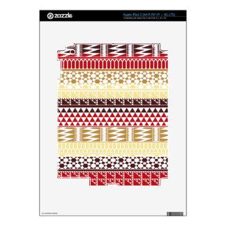 Cream Red Geo Abstract Aztec Tribal Print Pattern iPad 3 Skin