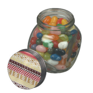 Cream Red Geo Abstract Aztec Tribal Print Pattern Jelly Belly Candy Jars
