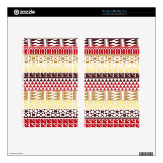 Cream Red Geo Abstract Aztec Tribal Print Pattern Kindle Fire Skin