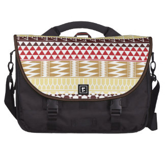 Cream Red Geo Abstract Aztec Tribal Print Pattern Commuter Bag