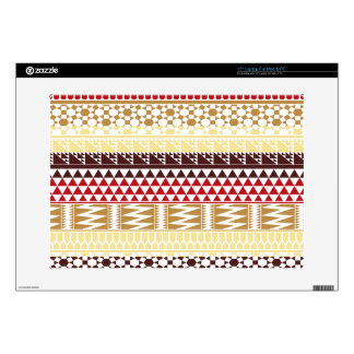 Cream Red Geo Abstract Aztec Tribal Print Pattern Laptop Skin