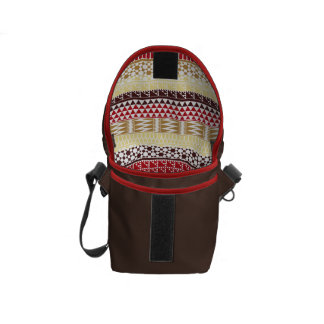 Cream Red Geo Abstract Aztec Tribal Print Pattern Messenger Bags