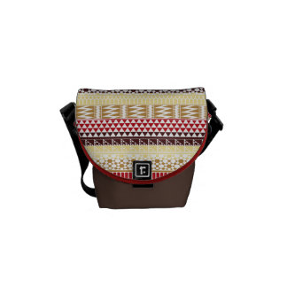 Cream Red Geo Abstract Aztec Tribal Print Pattern Courier Bags