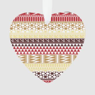 Cream Red Geo Abstract Aztec Tribal Print Pattern Ornament