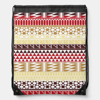 Cream Red Geo Abstract Aztec Tribal Print Pattern Drawstring Bag