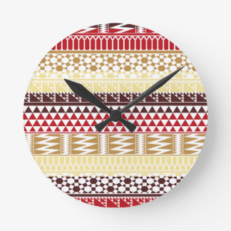 Cream Red Geo Abstract Aztec Tribal Print Pattern Round Clock