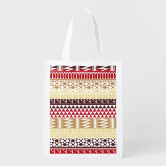 Cream Red Geo Abstract Aztec Tribal Print Pattern Grocery Bags