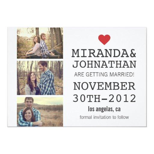 "Cream & Red Photo Strip Save The Date Invites 5"" X 7"" Invitation Card"